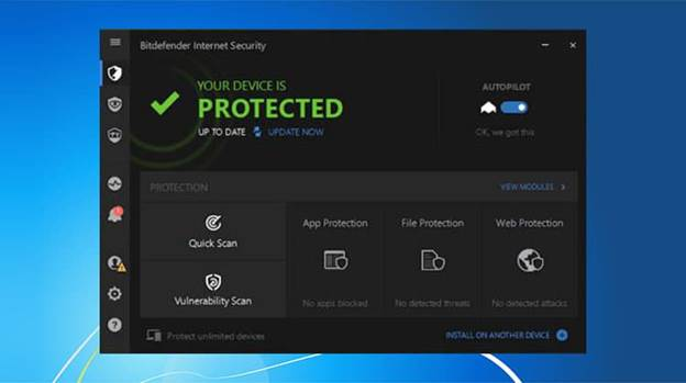 Image of Bitdefender Interface, saying that your device is protected.