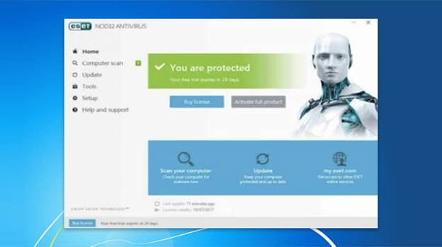 Image of ESET NOD32 antivirus Interface, saying that your device is protected.