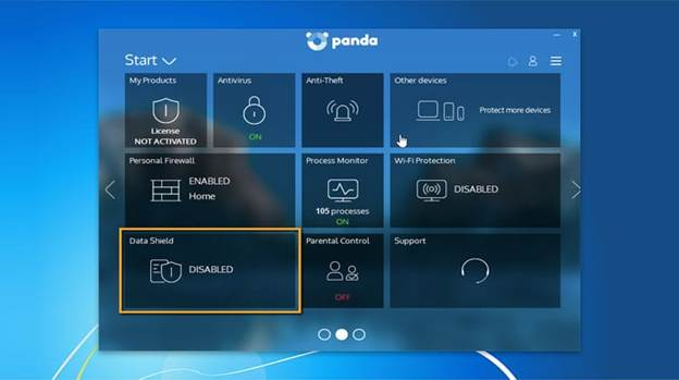 Image of Panda antivirus Pro Interface, saying that your device is protected.