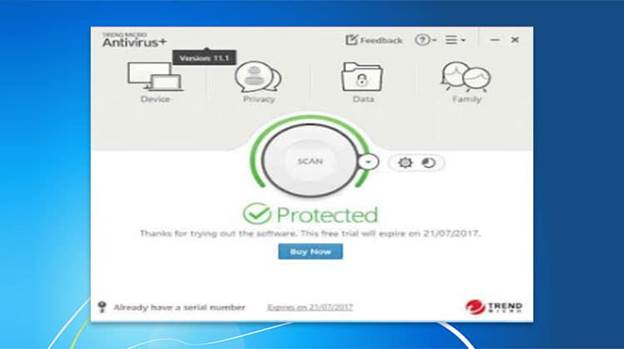 Image of Trend Micro Antivirus Interface, saying that your device is protected.