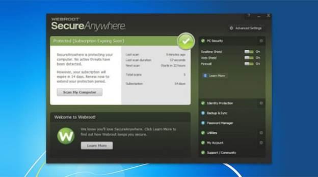 Image of Webroot SecureAnywhere antivirus Interface, saying that your device is protected.