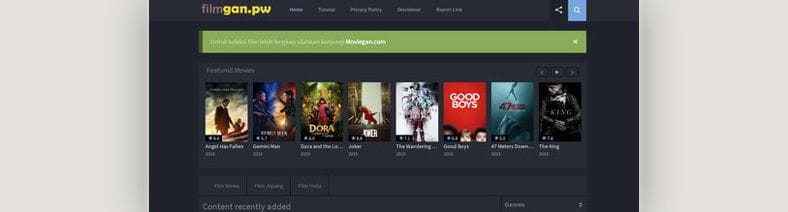 Filmgan-pw has become the second largest website for Moviegan.com for the first time.