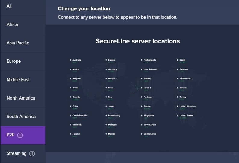 Image of Avast SecureLine VPN P2P Servers interface section.