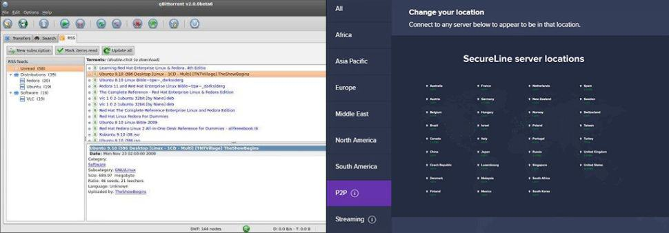Image of Avast SecureLine VPN Torrenting interface section and utorrent.