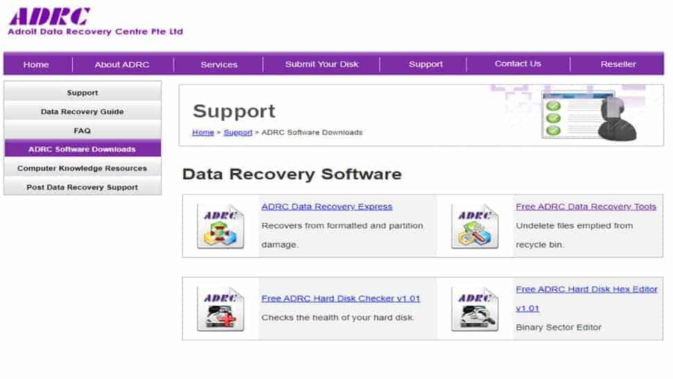 A screenshot of ADRC Data Recovery Tool  interface screen.