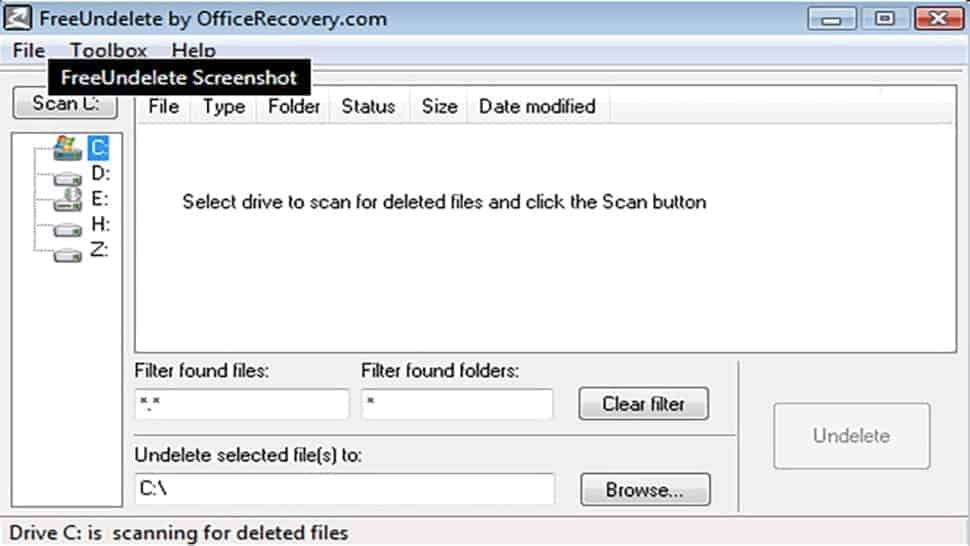 A screenshot of FreeUndelete Free Data Recovery software screen interface UI.