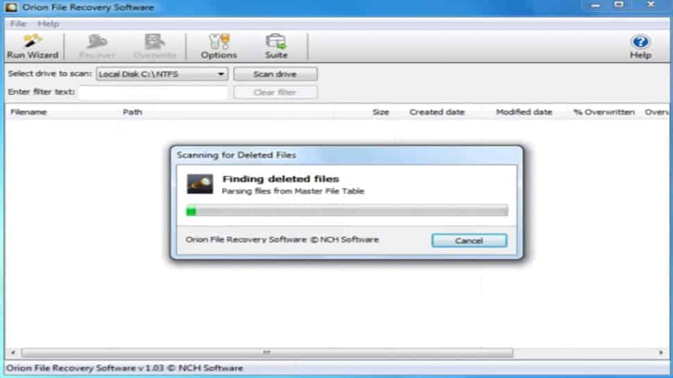 A screenshot of Orion File Recovery for Windows software screen interface UI.