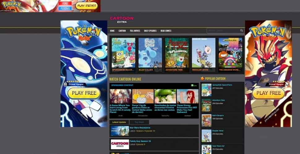 Cartoonextra a website that broadcasts cartoon series and animated films.